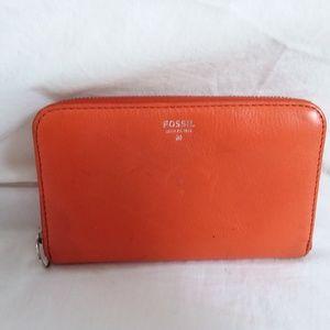 Fossil Orange Zip Around SYDNEY Leather Wallet